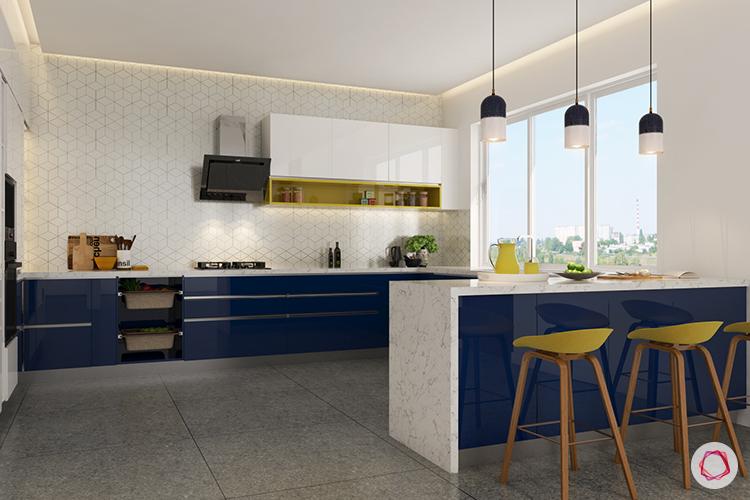Kitchen backsplashes blue