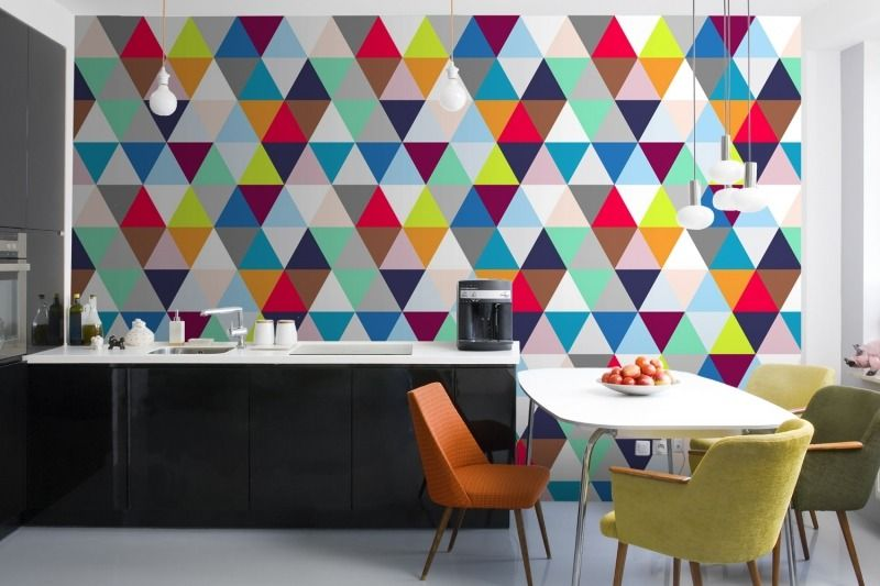 Summer interior design trend -Colorful geometric patterned wallpaper