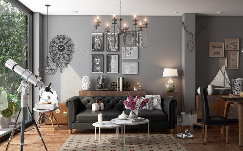 metal accents in wall decor, light fixtures and furnishings