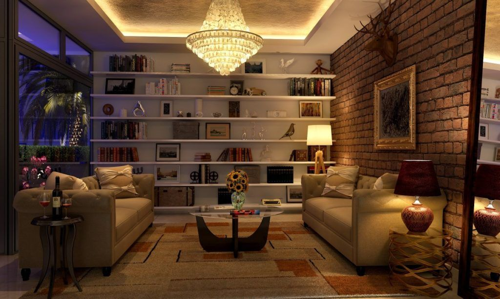 living room layout with large display shelf