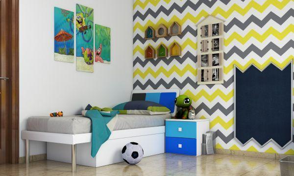 chevron pattern boys bedroom