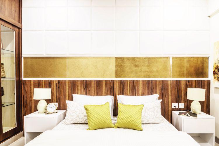 gurgaon apartment textured bed headboard