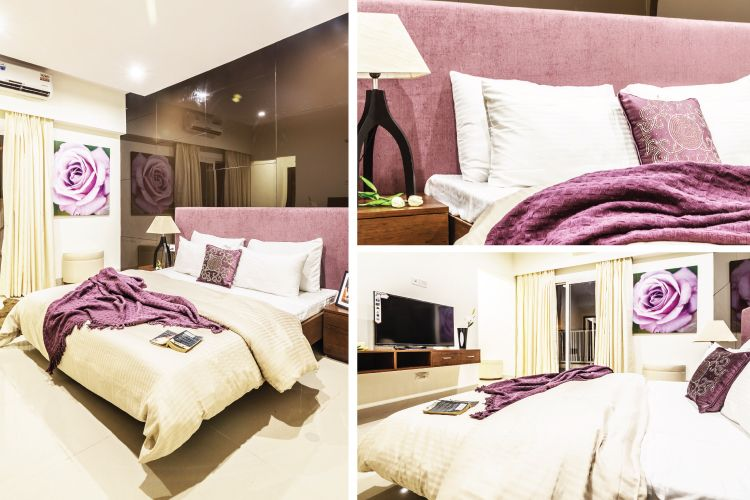 gurgaon apartment pink adult bedroom