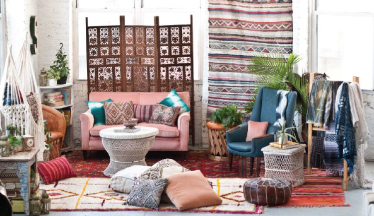 Multiple Moroccan rugs used for decor