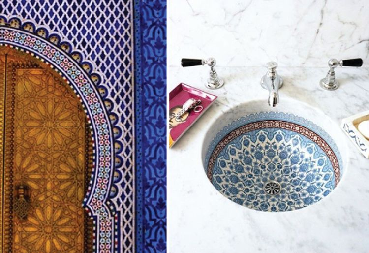 Mosaics used in sink and door