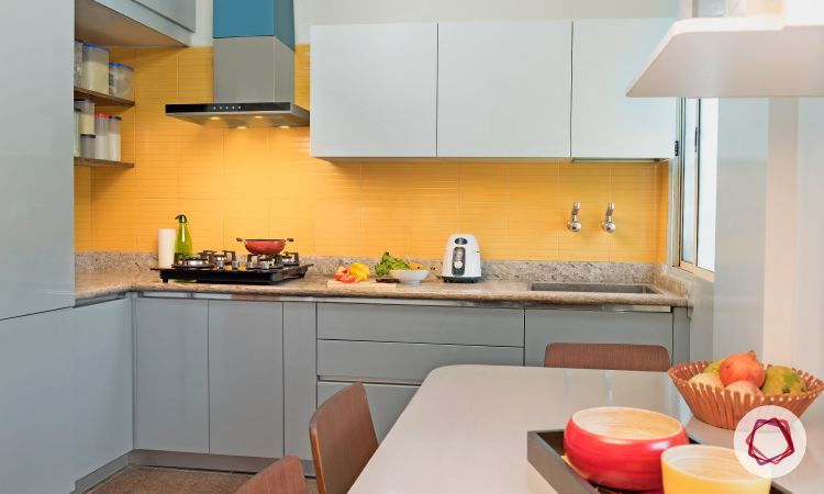 Bangalore interior design_grey and yellow kitchen