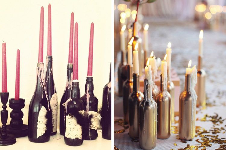 Candles in bottles