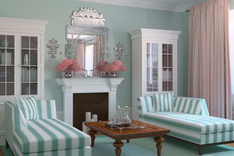 decorative mirror above mantel