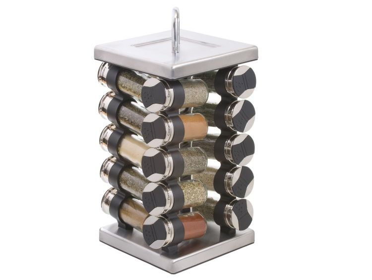 Revolving racks are compact spice storage solutions for small kitchens