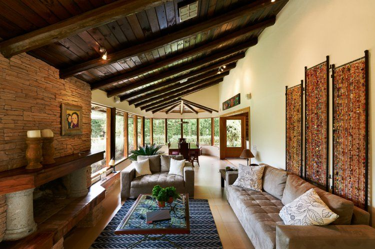 rustic style interiors with exposed wooden beams