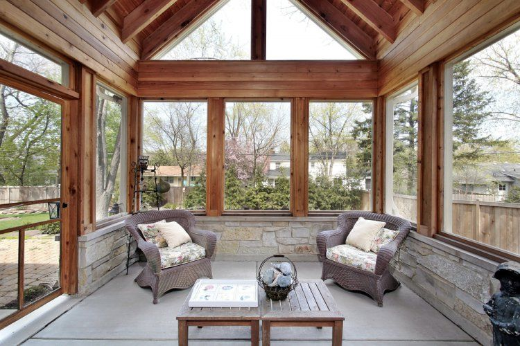 rustic style interiors with open windows