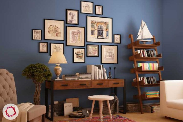A compact and cozy home library with ladder bookshelf.