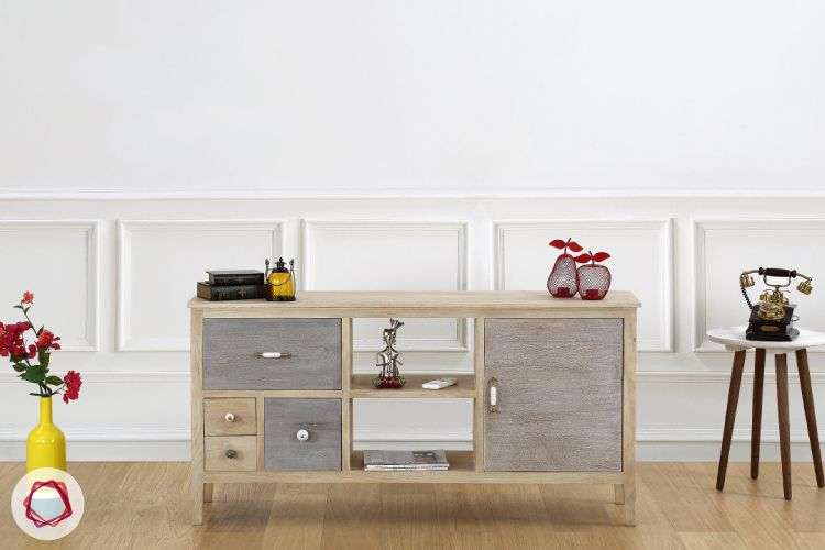 Add some shabby chic-ness to your living room through the Espeneli TV unit.