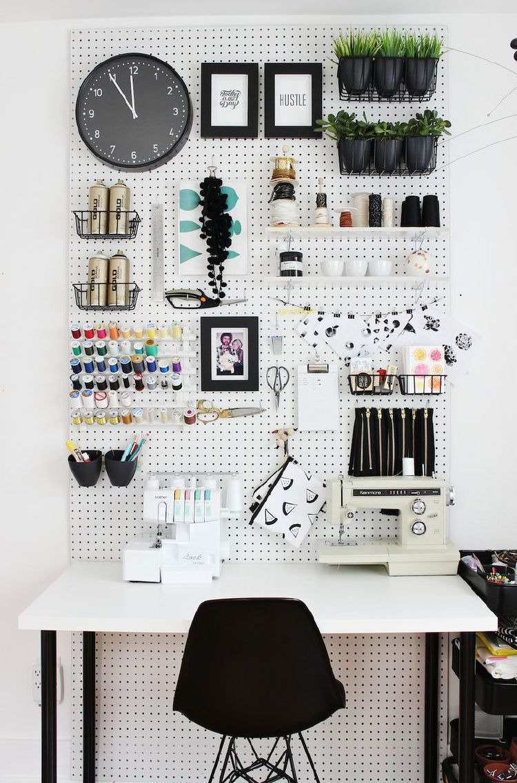 Pegboard for clutter-free surfaces to organize tools