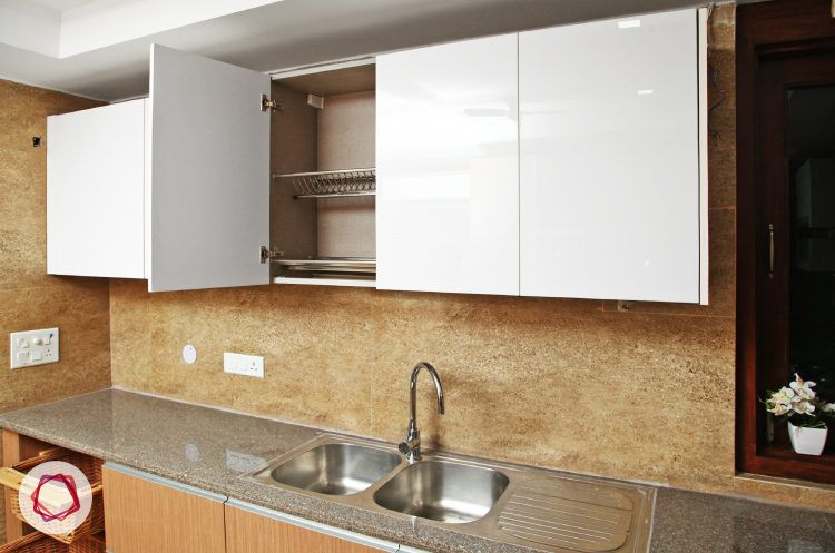 Delhi kitchen interior design - double stainless steel sink