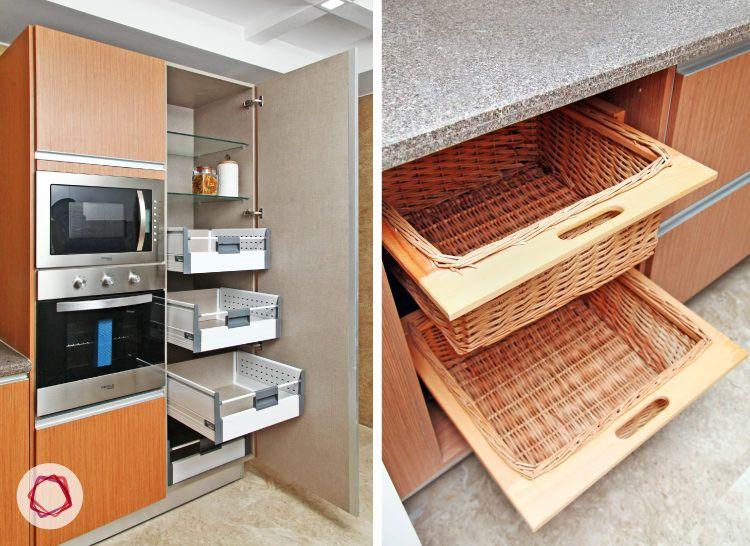 Delhi kitchen interior design - wicker drawer baskets and tall untits
