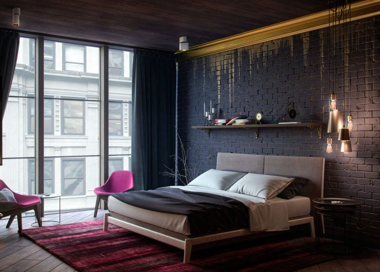 Black brick wall bedroom