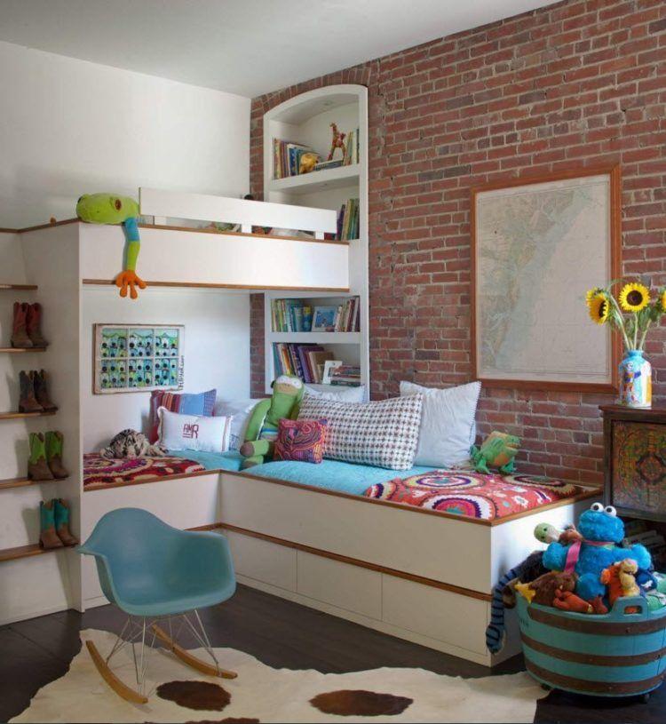 brick wall in kids room