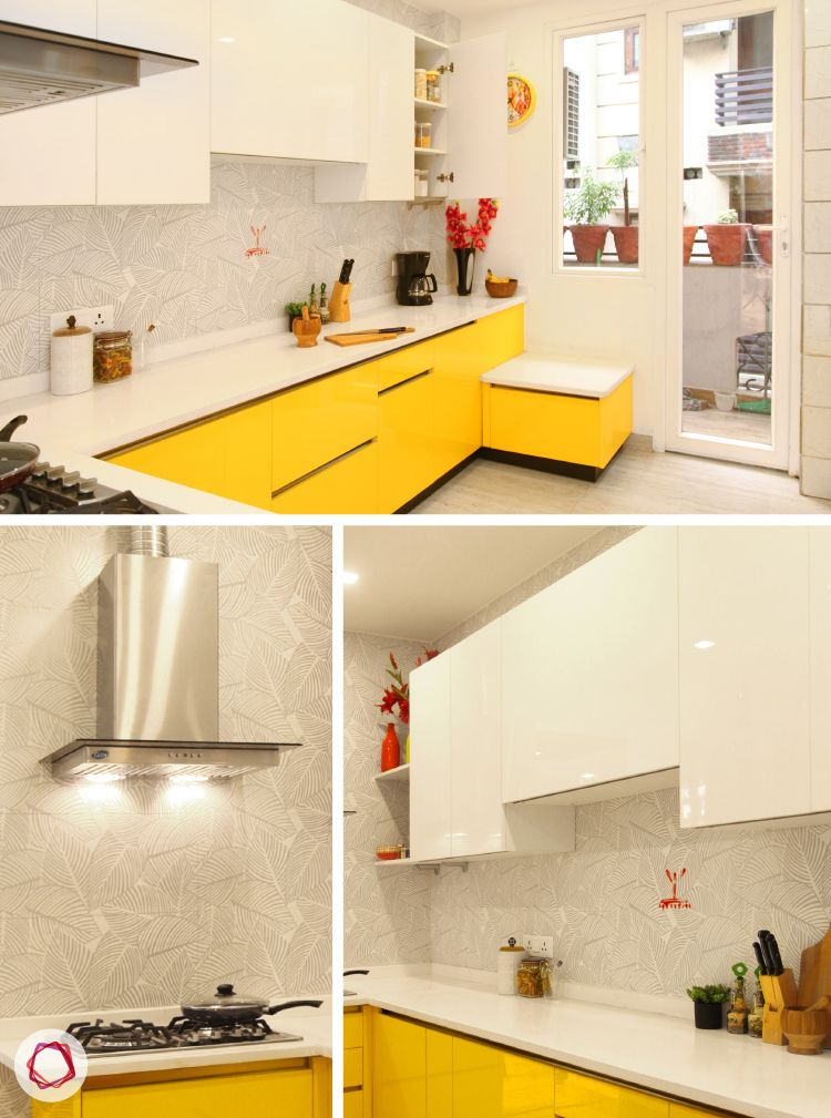 Delhi home renovation_large kitchen with yellow and white palette.