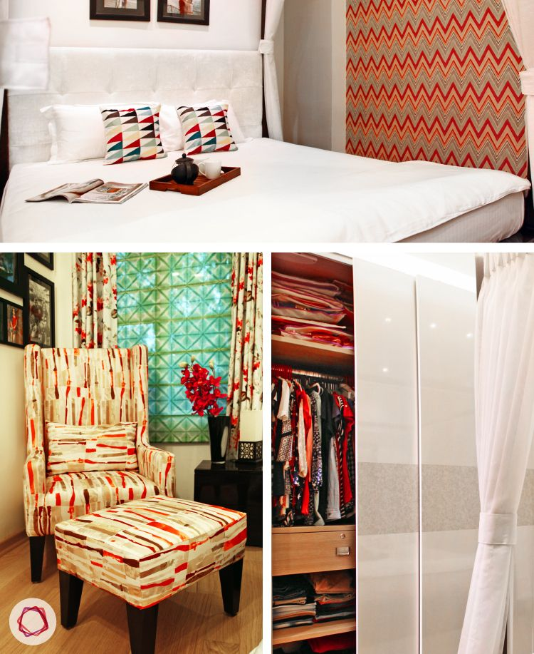 Delhi home renovation_master bedroom with wall-to-wall modular wardrobes