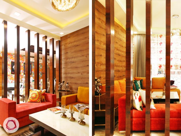 Delhi home renovation_vertical wooden slats afford privacy