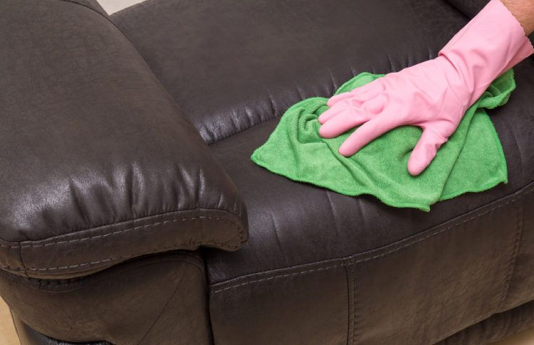 Get rid of stains immediately for a clean leather sofa.