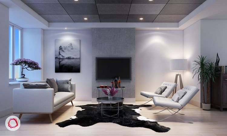 tv wall design grey
