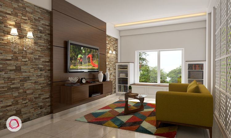 tv wall design wooden