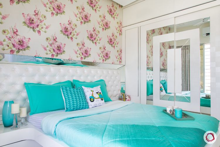 wardrobe designs for small indian bedroom-floral wallpaper designs-blue cushion designs