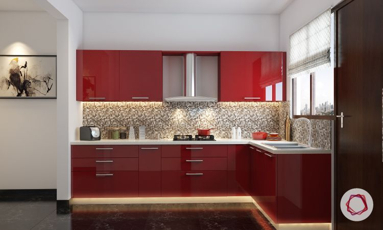 Acrylic vs Membrane Finish: acrylic kitchen cabinets in red