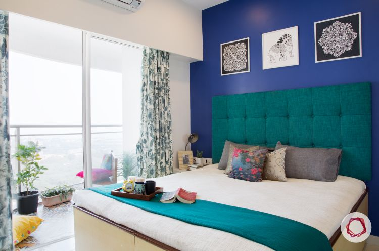 Mumbai interior design-monaco blue wall