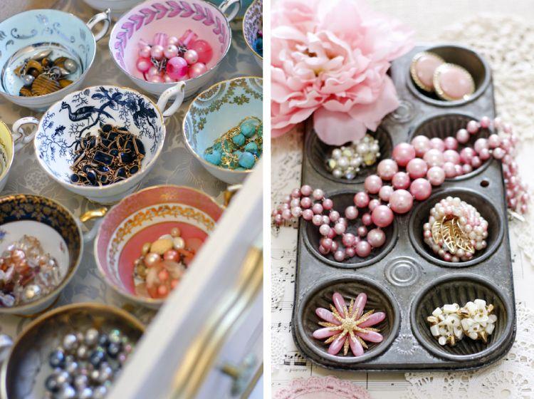 Jewellery organization_tea cups and muffin trays