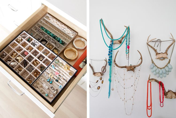Jewellery organization_drawer compartments and vertical storage