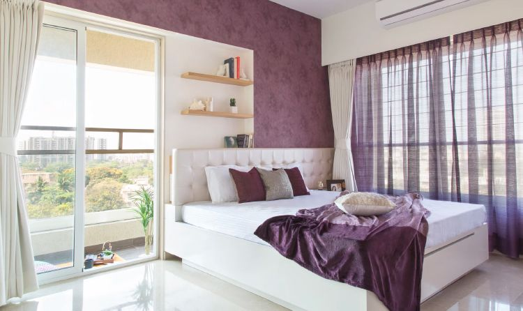 Mumbai interior design_purple master bedroom