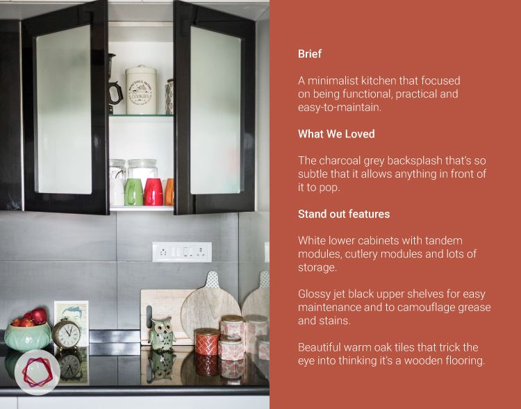 Mumbai modular kitchen_glossy black shutters