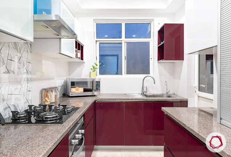Noida interior design_blackcurrant kitchen
