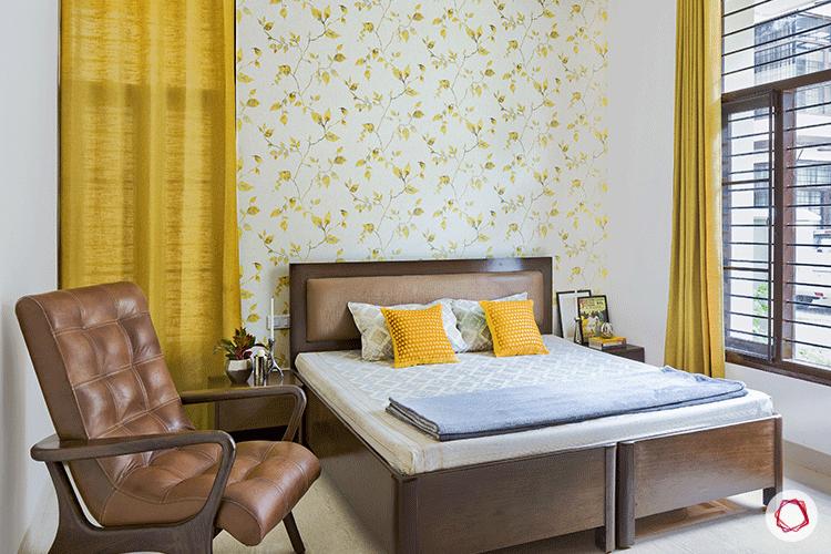 Simple Bangalore interior design_yellow floral wallpaper