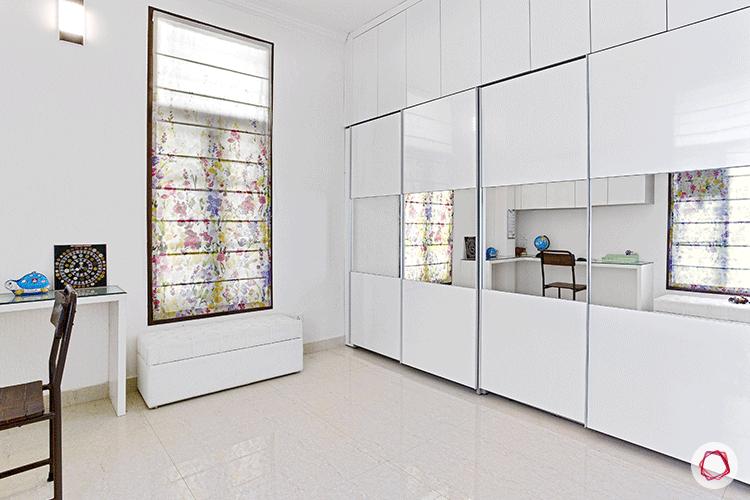 Simple Bangalore interior design_kid's room white wardrobes