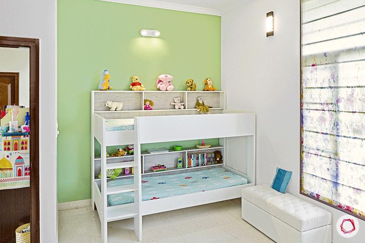 Simple Bangalore interior design_kid's room green wall