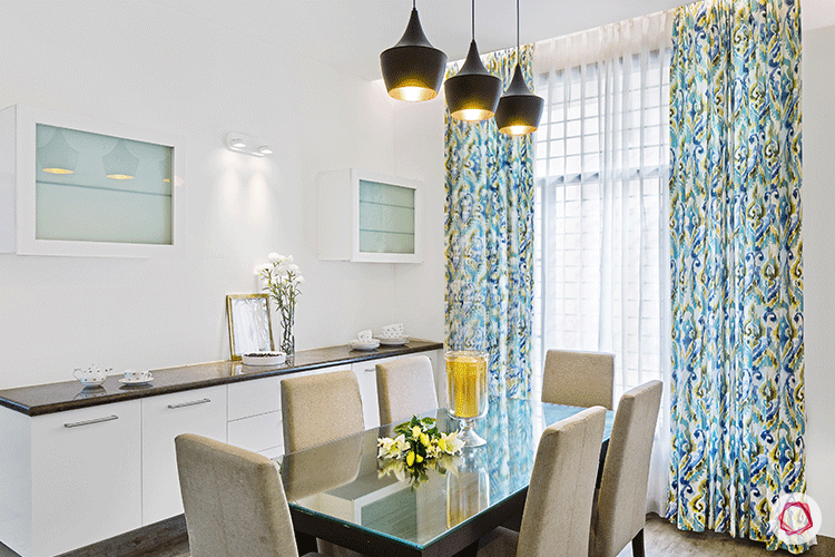 Simple Bangalore interior design_dining room with lights