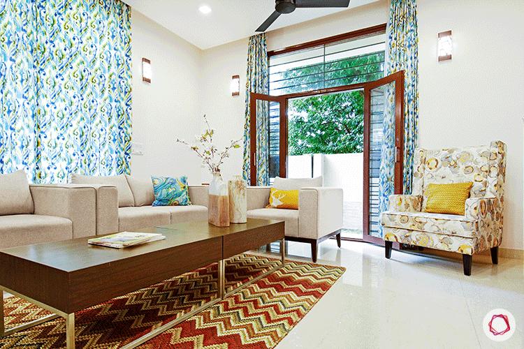 Simple Bangalore interior design_living room balcony view