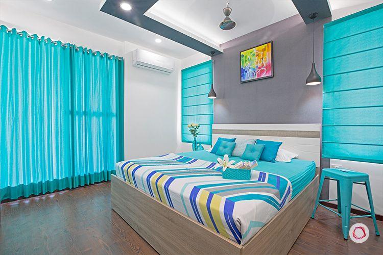 Noida interior design_turquoise bedroom