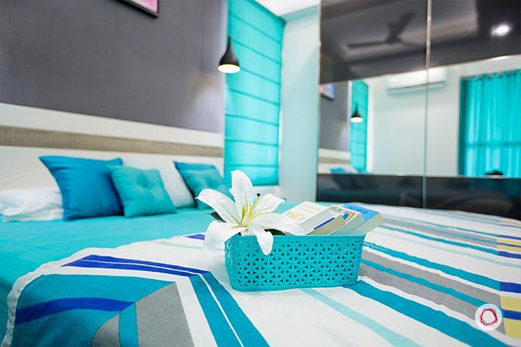 Noida interior design_grey and turquoise room