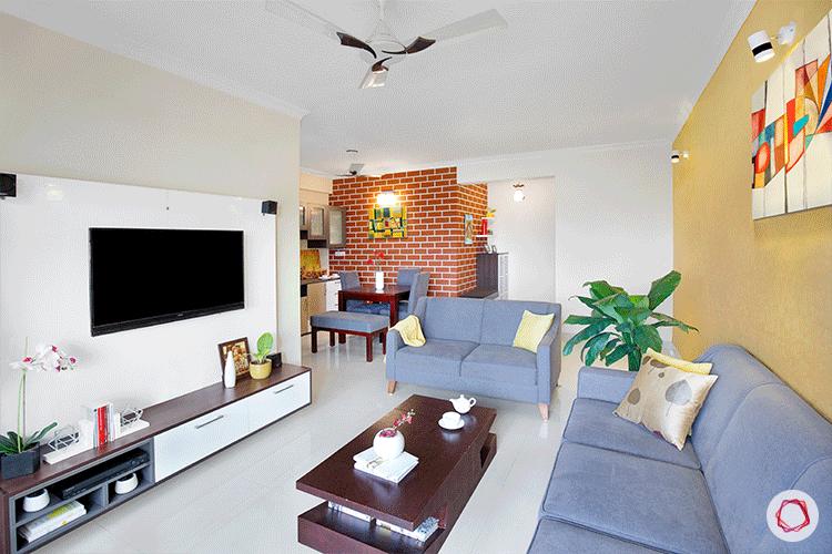 Fresh colors Bangalore interior design living