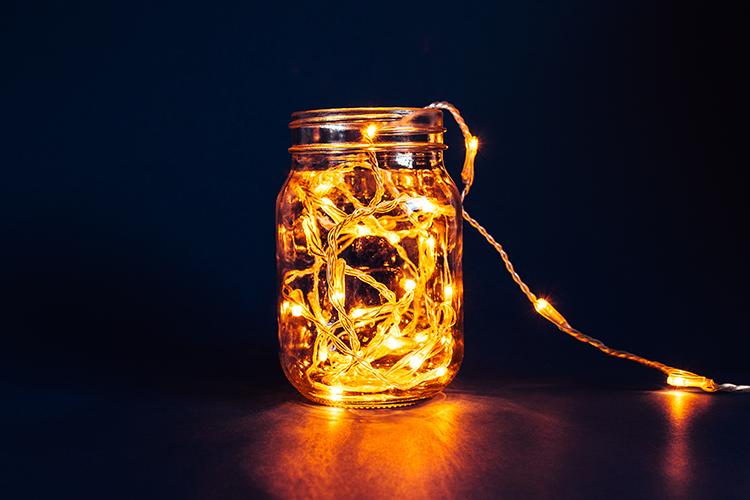 Fairy light decoration ideas - mason jar