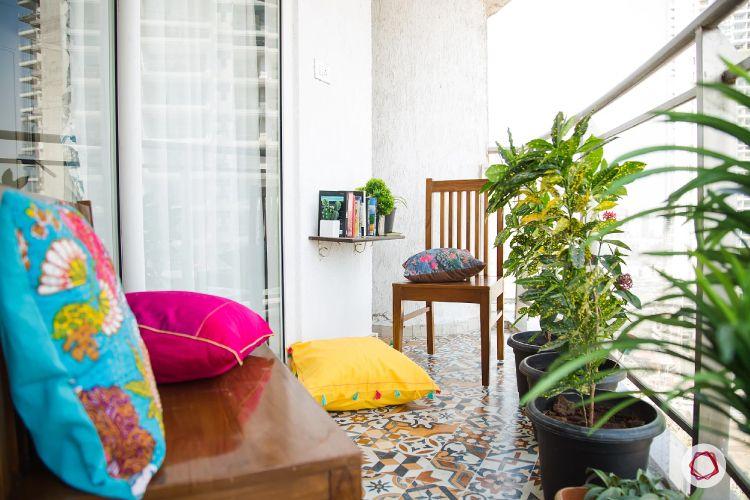 balcony seating ideas-bench design ideas-moroccan tiles for flooring