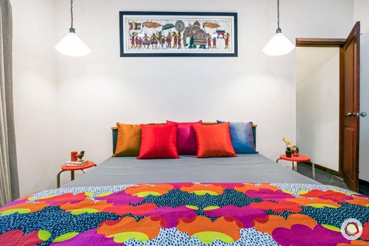 home interiors at Kengeri villa-neo classical bedroom-indian artwork