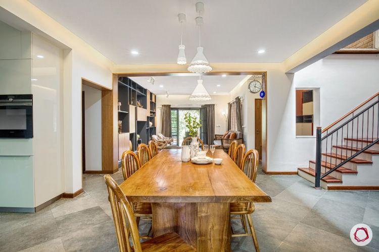 dining room-wooden furniture-pendant lights