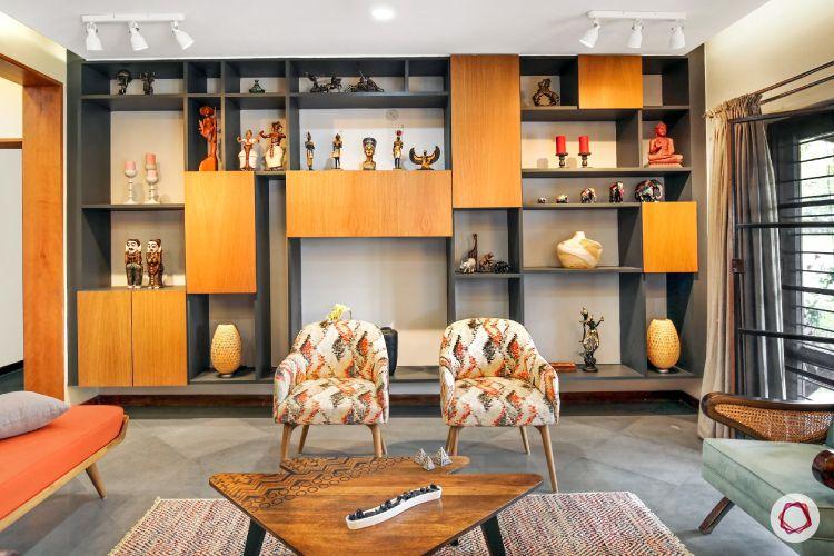 home interiors at Kengeri villa-display rack-printed upholstery