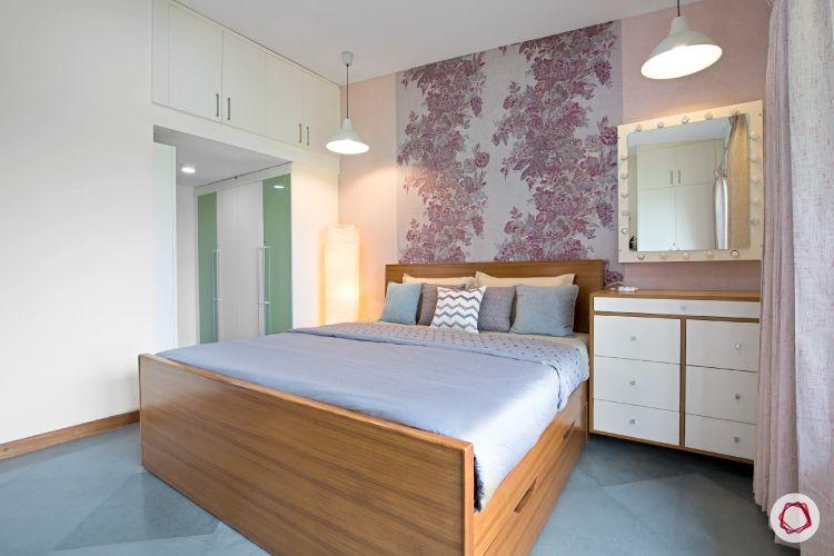 Kengeri villa-floral wallpaper-muted bedroom